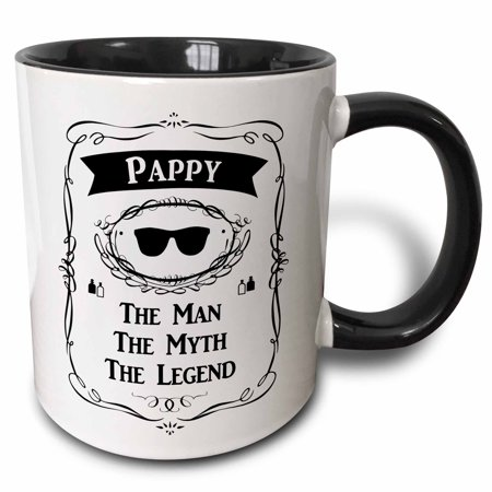3dRose Pappy The Man The Myth The Legend fun funny grandpa grandfather gift - Two Tone Black Mug, 11-ounce - Pappy Pig