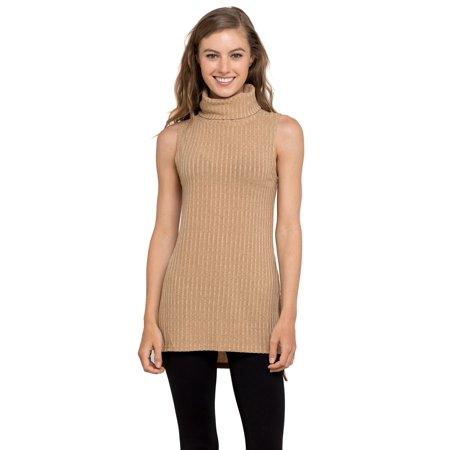 e88f9045cc52e Velucci - Womens Turtleneck Tunic Tank Top - Sleeveless Ribbed Sweater