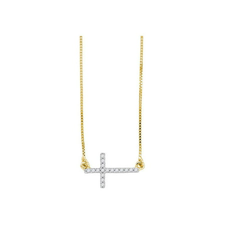37178eabb162e 10kt Yellow Gold Womens Round Diamond Cross Pendant Necklace Chain 1/10 Cttw