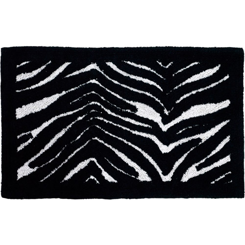 "Creative Bath Zebra Cotton Bath Rug, Striped, 21"" x 34"""