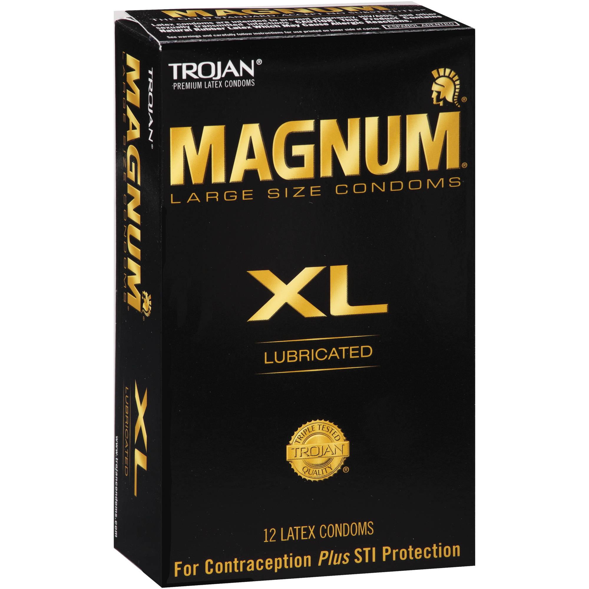 Trojan Magnum XL Lubricated Latex Condoms, 12 count