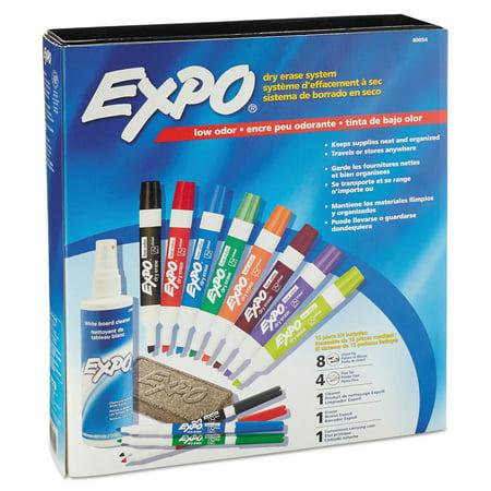 Expo Low Odor Dry Erase Marker  Eraser   Cleaner  Chisel Fine  12 Set