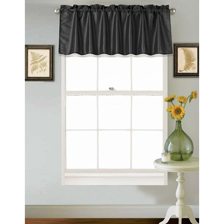 "(S18) BLACK 1PC Elegant Straight Faux Silk Rod Pocket Swag Waterfall Valance, 55"" X 18"" Inch"