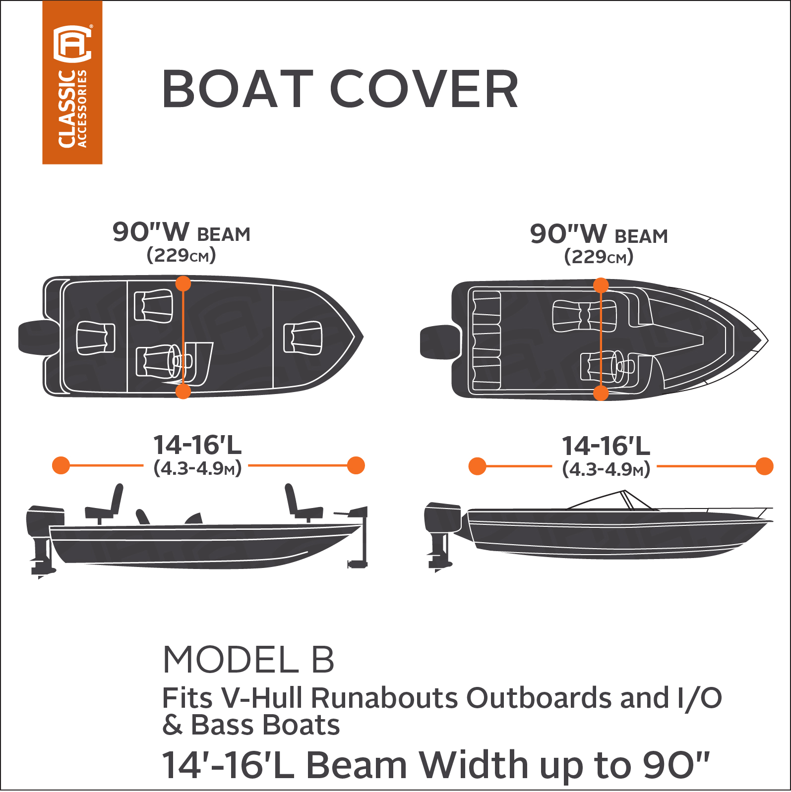 Classic Accessories Orion Trailerable Boat Cover with Cam Buckle for V-Hull Runabouts