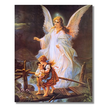 Guardian Angel Bridge Children Wall Picture Art Print