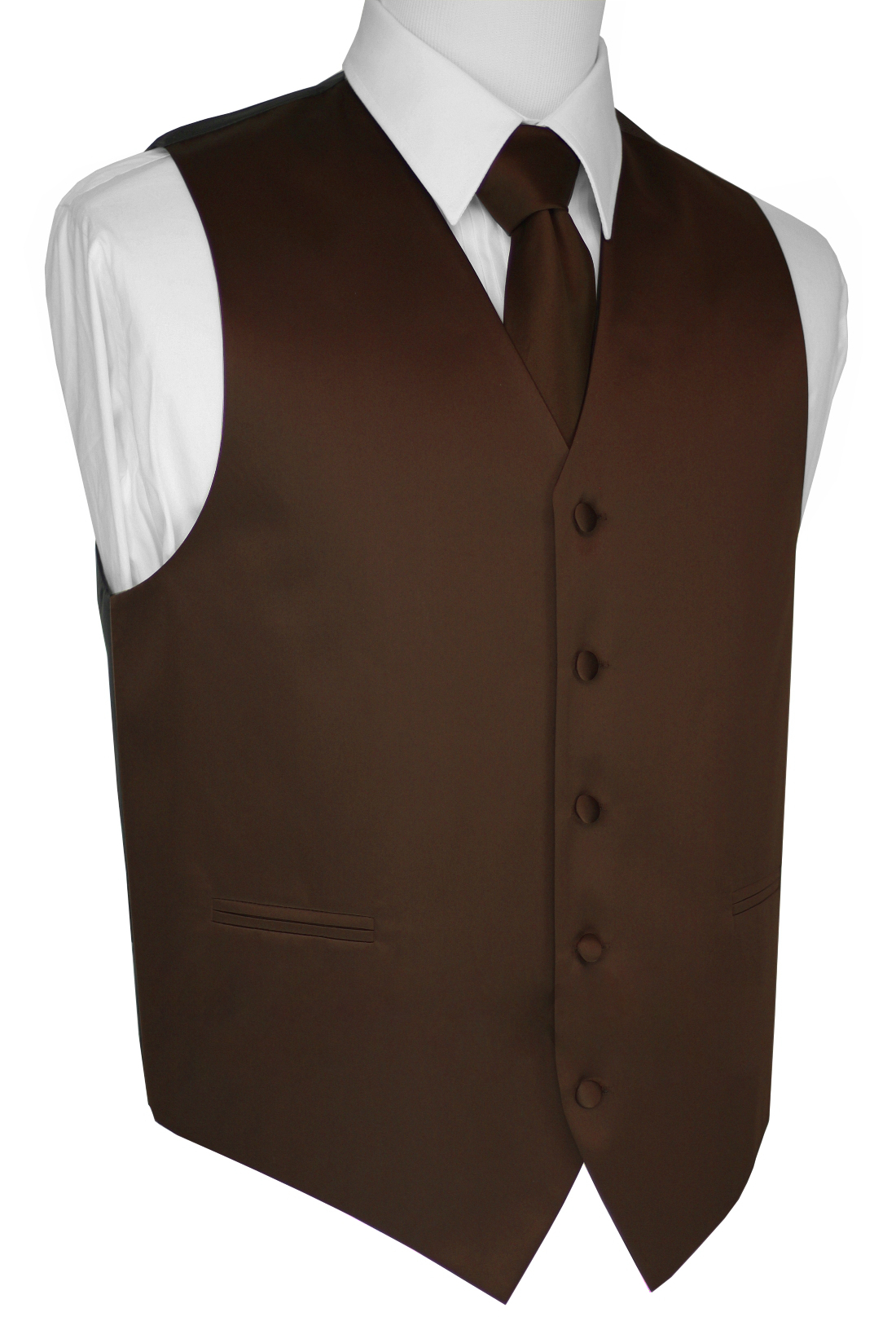 Italian Design, Men's Tuxedo Vest, Tie & Hankie Set - Chocolate