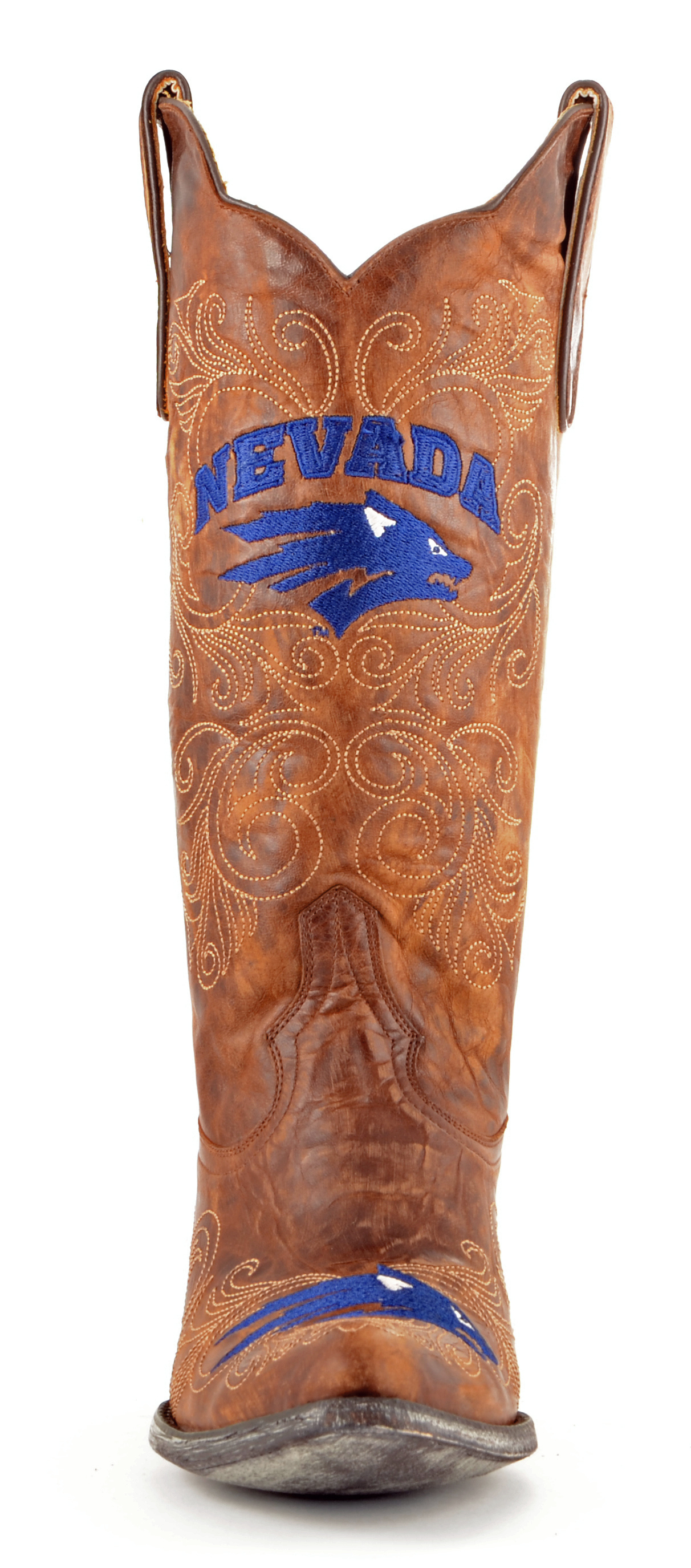 "Gameday Boots Nevada Women 13"" Tall Brass Leather University Of Nevada Boots Cowboy Boots 6.5 353eaa"