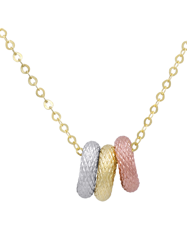 Amanda Rose Tri-tone Three Ring Pendant-Necklace in 14k Yellow Gold on an 18 in. Chain