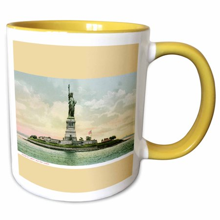 3dRose Statue of Liberty New York Harbor Vintage Postcard Reproduction - Two Tone Yellow Mug, 11-ounce