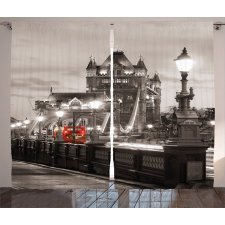 House Decor Curtains 2 Panels Set, London Tower Bridge in the Famous City Urban Life Scenery European Picture, Window Drapes for Living Room Bedroom, 108W X 84L Inches, Black White, by Ambesonne
