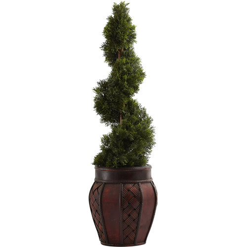 Nearly Natural Cedar Spiral with Decorative Planter