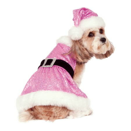 Sequin Mrs Santa Claus Pet Dog Cat Pink Christmas Costume Outfit-L - Mrs Santa Claus Costume