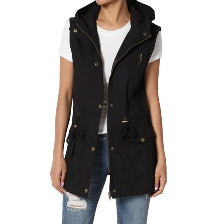 - TheMogan Women's S~3X Drawstring Loose Fit Utility Vest Sleeveless Military Jacket