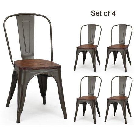 Topbuy Set of 4 Tolix Style Metal Dining Side Chair Wood Seat Stackable Bistro Cafe New ()