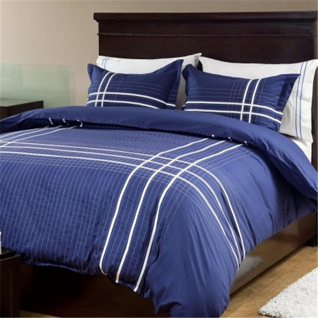 Textrade DQ120051TUS Duvet Cover & Two Standard Queen Sham, Blue & White