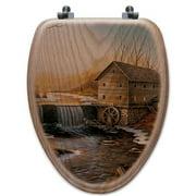 WGI-GALLERY The Old Mill Oak Elongated Toilet Seat