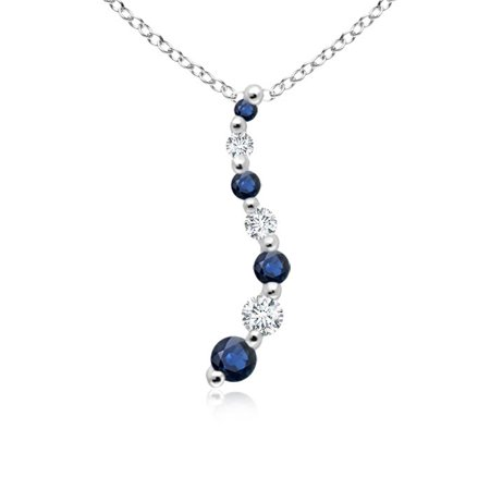 September Birthstone Pendant Necklaces - Sapphire and Diamond Curved Journey Pendant in Platinum (3.2mm Blue Sapphire) - -