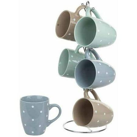 6-Piece Mug Set with Stand, Polka Dots