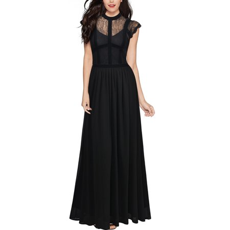 MIUSOL Women's Vintage Retro Floral Lace 1920s Navy Formal Long Maxi Wedding Bridesmaid Dresses for Women (Black 3XL) - Affordable 1920s Dresses