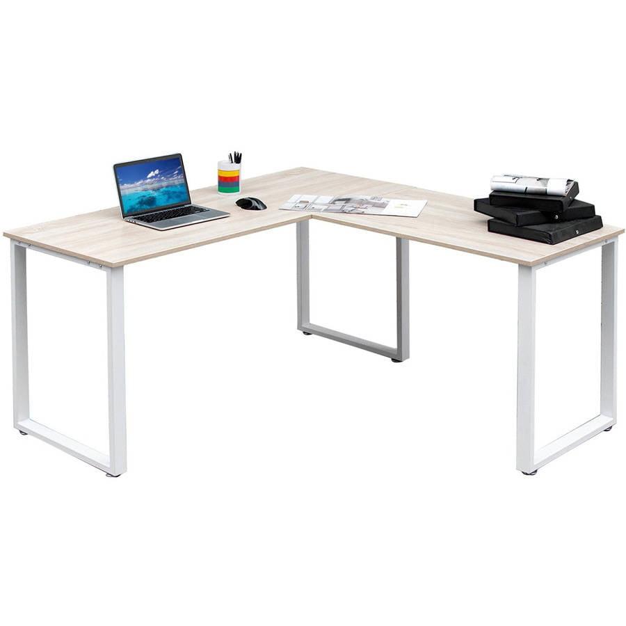 """merax 59"""" l-shaped desk with metal legs office desk corner"""
