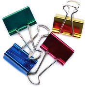 "Baumgartens Large Binder Clips 1-1/4"" 4/Pkg-Assorted Colors"