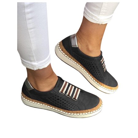 Women's Slip On Hollow Out Flat Round Toe Breathable Sneakers