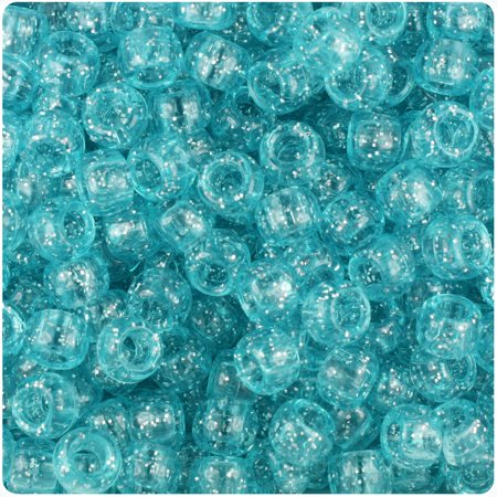 BeadTin Light Turquoise Sparkle 9mm Barrel Pony Beads (500pc)