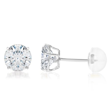 81d604f16 Ioka - 14K White Gold Round Solitaire Cubic Zirconia CZ Stud Push Back  Earrings - 1.25ct (7mm) - Walmart.com