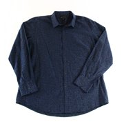 INC NEW Blue Navy Mens Size XL Button-Front Printed Collar Long Sleeve Shirt