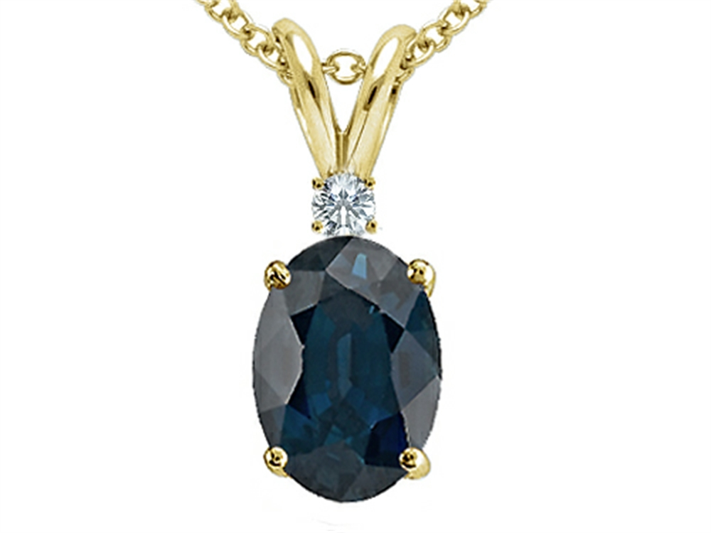 Star K Oval 7x5mm Genuine Sapphire Pendant Necklace by