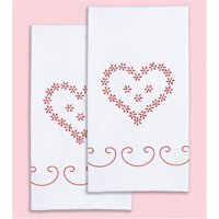 Stamped White Decorative Hand Towel 17''X28'' One Pair-Valentine's Day
