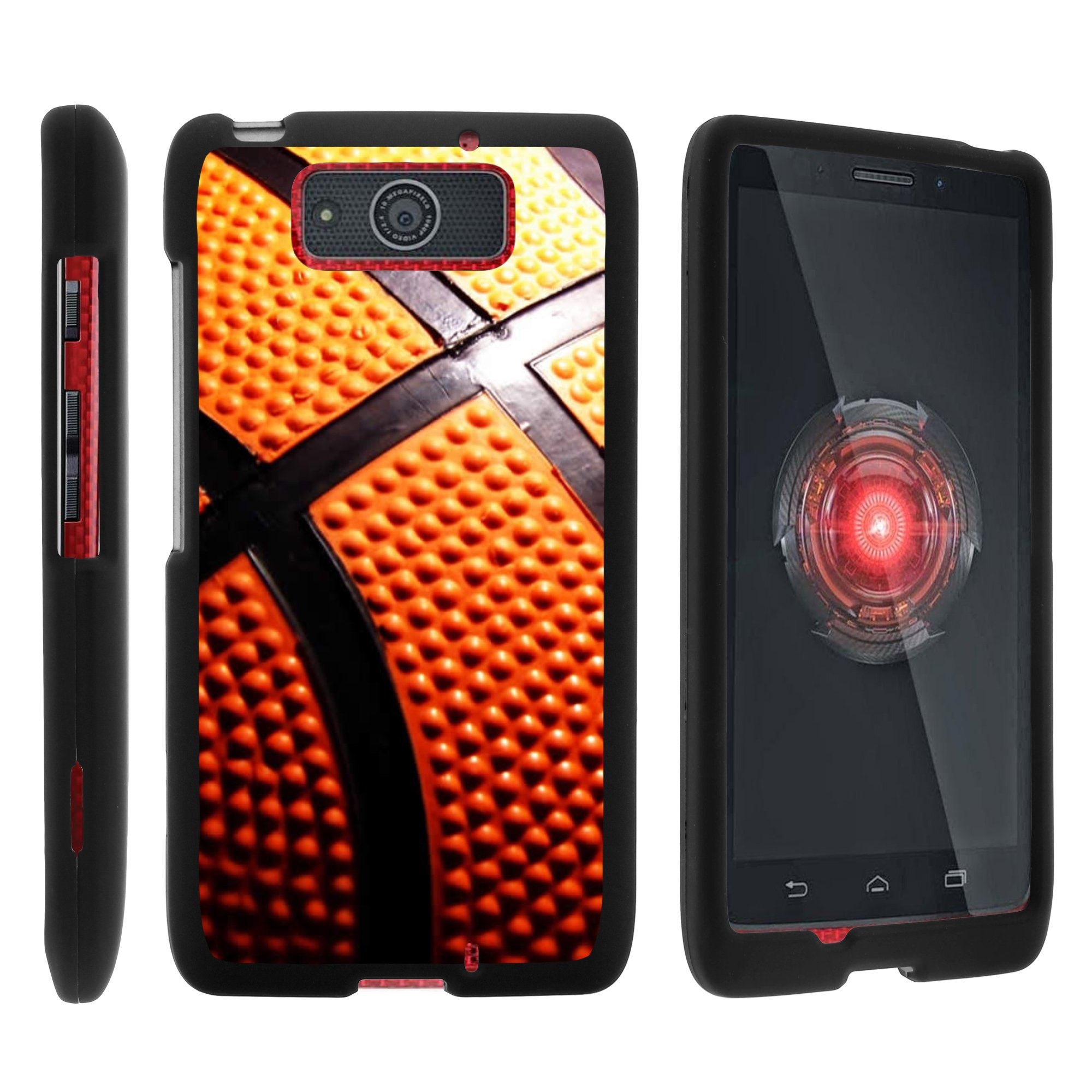 Motorola Droid Ultra XT1080 | Droid Maxx XT1080-M, [SNAP SHELL][Matte Black] 2 Piece Snap On Rubberized Hard Plastic Cell Phone Case with Exclusive Art - Close Up Basketball