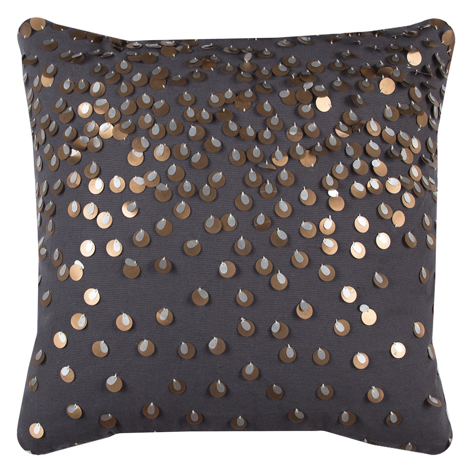 "Rizzy Home Decorative Poly Filled Throw Pillow Sequin 20""X20"" Dark Grey"