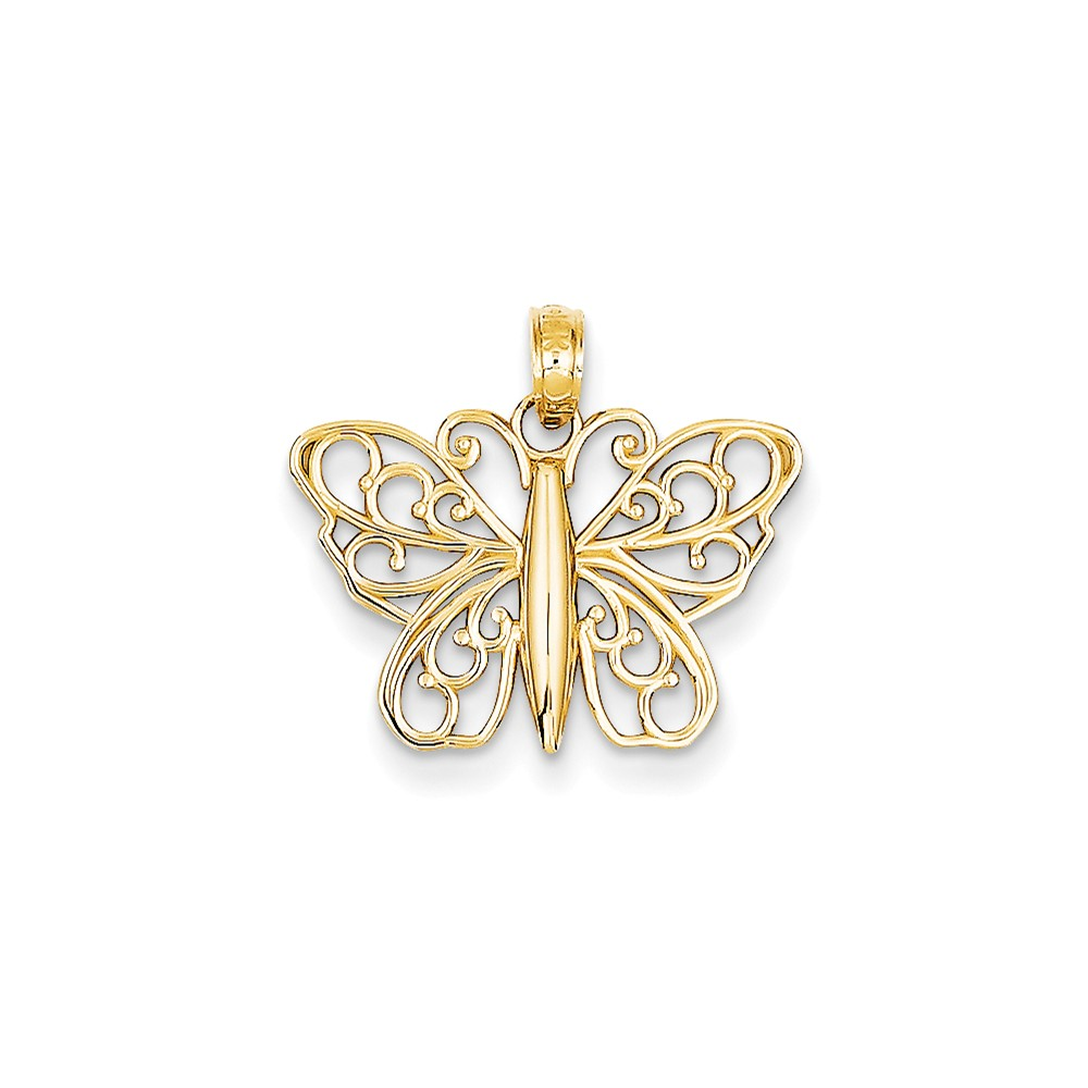 14k Yellow Gold D/C Filigree Butterfly Charm Pendant