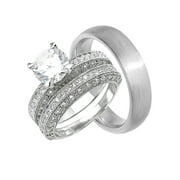 His Hers CZ Wedding Ring Set Unique Matching Bands for Him Her  (6/13)