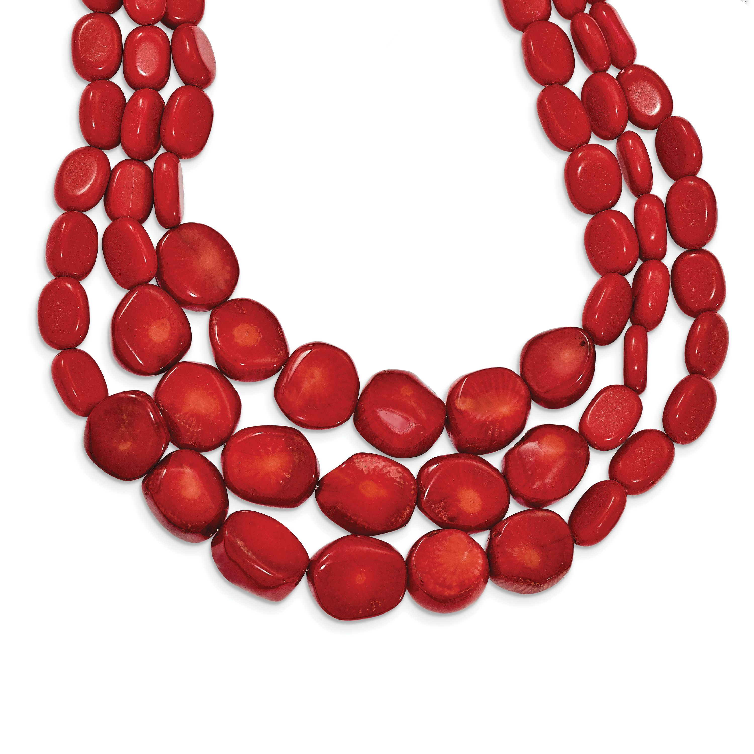 925 Sterling Silver Red Coral w 2in ext Triple Strand Necklace by