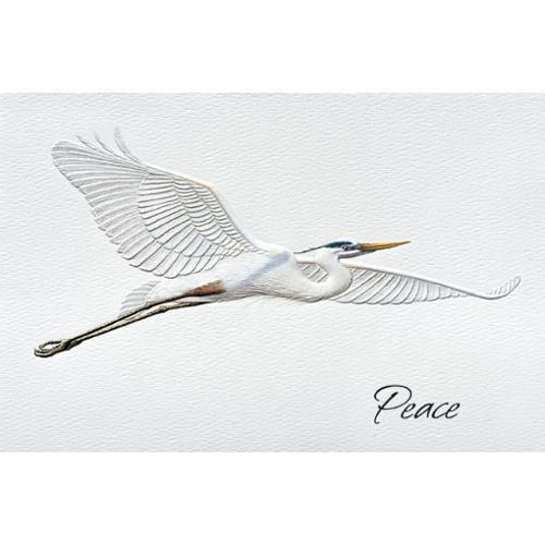 Pack of 16 Blue Heron Fine Art Embossed Deluxe Christmas Greeting Cards