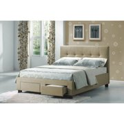 Emerald Home Sydney Beige Upholstered Bed with Tufted Headboard And Hidden Storage, Twin