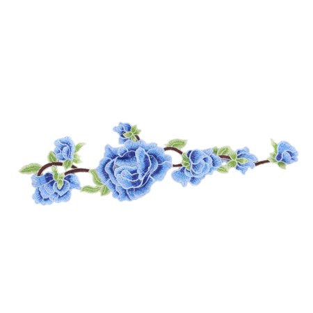 Household Polyester Flower Embroidery DIY Craft Sewing Lace Applique Patch Blue - image 4 of 4