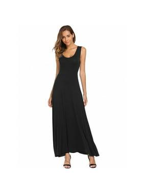 4debe3fce36 Product Image Women s Sleeveless Round Neck Plain Dresses Casual Slim  Stretch Sundress Summer Beach Tank Long Maxi Dresses