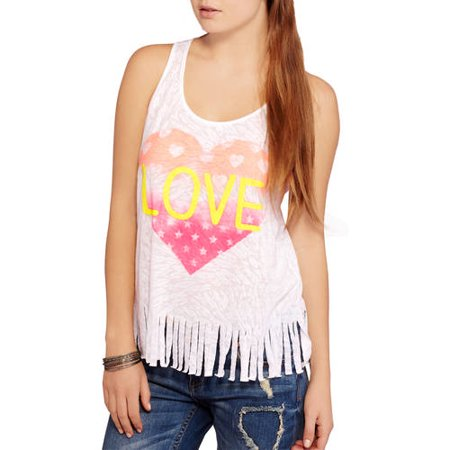 0f52e70a6676 No Boundaries Juniors Racerback Graphic Tank with Fringe