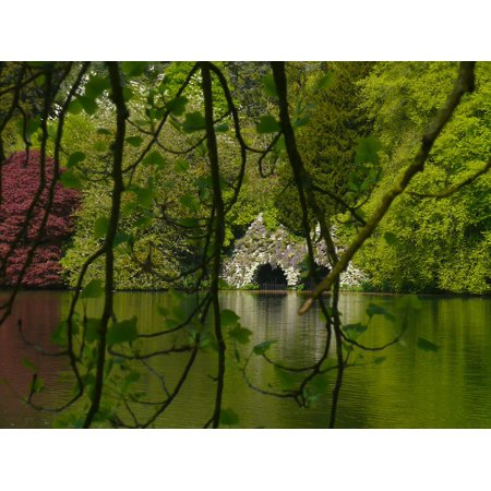 Canvas Print England Stourhead Park Lake Wiltshire Garden Stretched Canvas 10 x (Stourhead Gardens)