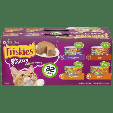 Friskies Pate Wet Cat Food Variety Pack, Poultry Favorites - (32) 5.5 oz.