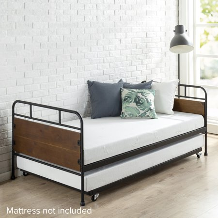 Zinus Eli Twin Metal and Wood Daybed and Trundle Frame Two Piece Set Twin Captains Bed Trundle