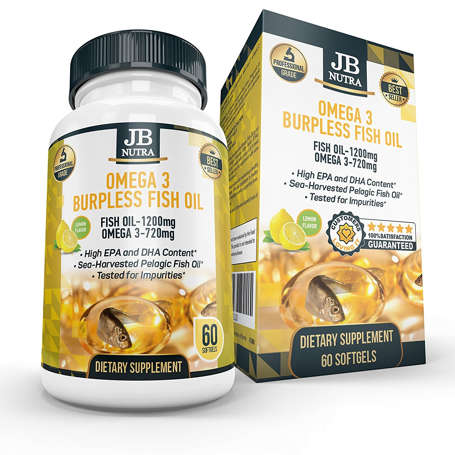 Burpless Fish Oil Supplement, Lemon Scent - Small Softgels - Great Source of Omega 3 For Women and Men