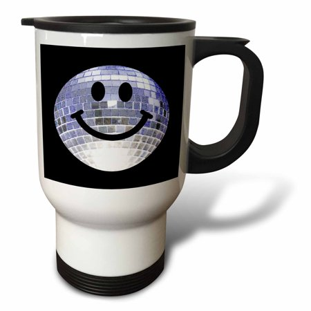 3dRose Silver Disco Ball Smiley Face - seventies 70s style Discoball Dance hall diva smilie on black, Travel Mug, 14oz, Stainless Steel