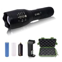 G1400 Military Tactical Flashlight 5 Modes Zoomable Adjustable Focus - Ultra Bright LED Tactical Flashlight - Full Kit  (Black)