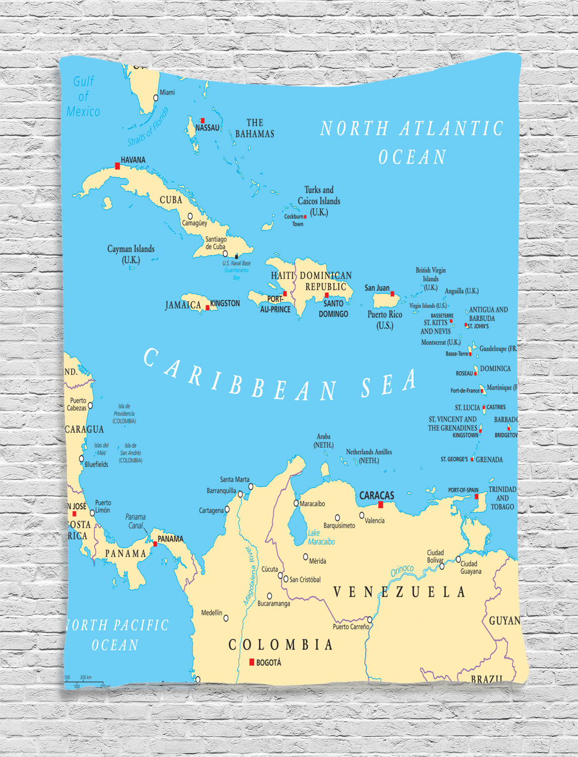 Wanderlust Tapestry, Caribbean Political Map Capitals National Borders  Important Cities Rivers Lakes, Wall Hanging for Bedroom Living Room Dorm  Decor, ...