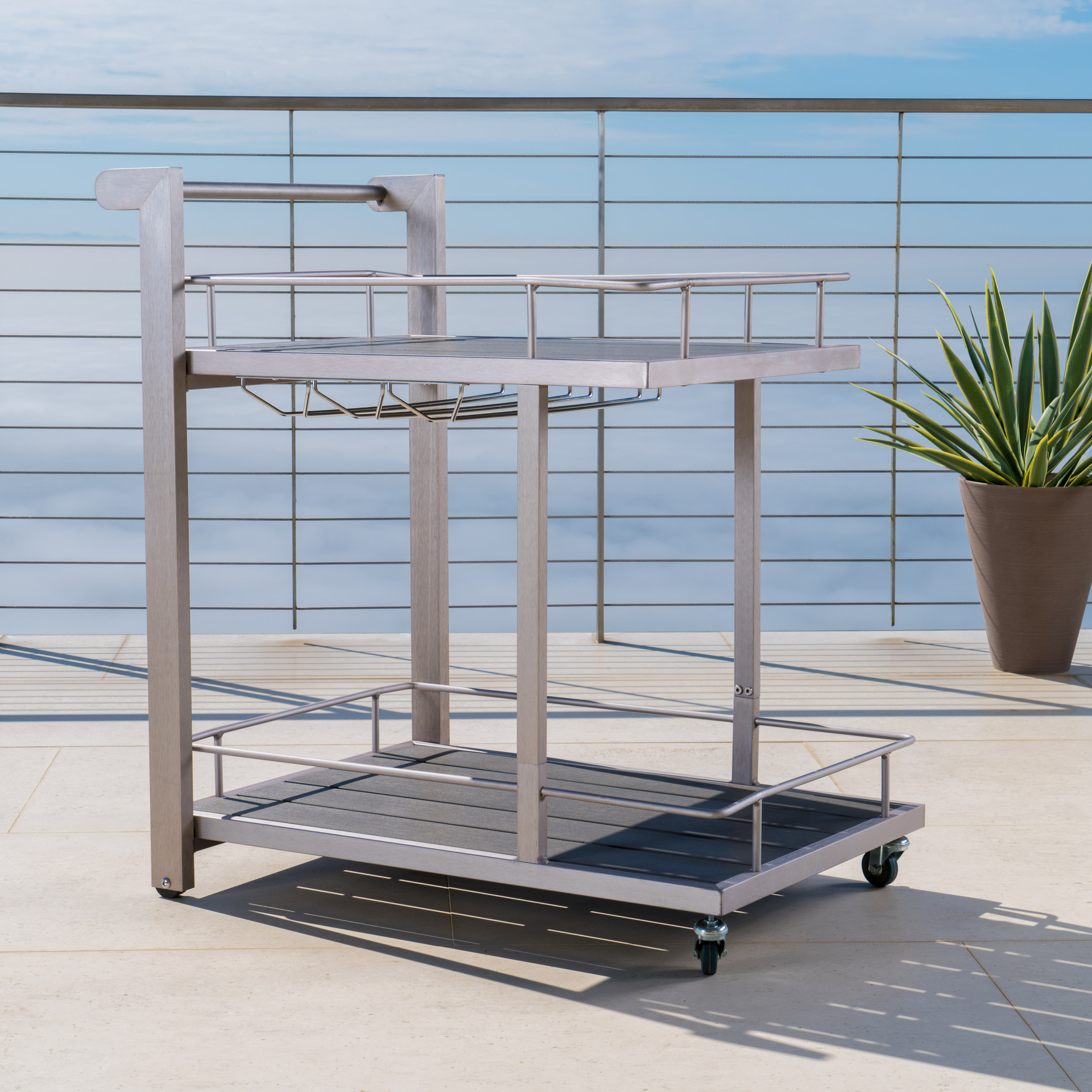Miller Outdoor Aluminum Bar Cart with Polymer Blended Wood Top, Natural Color