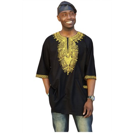 Traditional African Dashiki Shirt with Gold